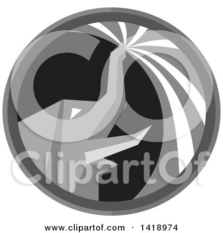 Clipart of a Retro Grayscale Elephant Spraying Water from His Trunk in a Circle - Royalty Free Vector Illustration by patrimonio