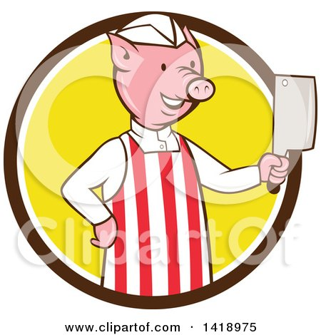 Clipart of a Cartoon Pig Butcher Holding a Cleaver Knife in a Brown White and Yellow Circle - Royalty Free Vector Illustration by patrimonio