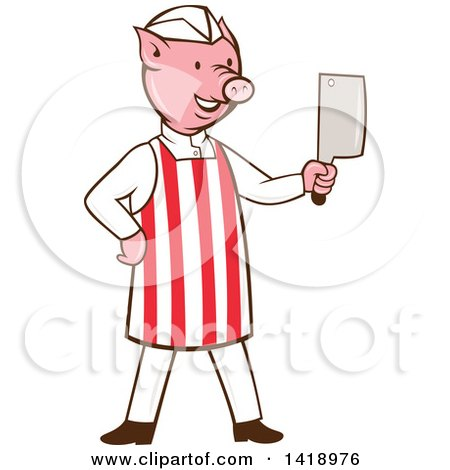 Clipart of a Cartoon Pig Butcher Holding a Cleaver Knife - Royalty Free Vector Illustration by patrimonio