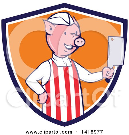Clipart of a Cartoon Pig Butcher Holding a Cleaver Knife in a Blue White and Orange Shield - Royalty Free Vector Illustration by patrimonio
