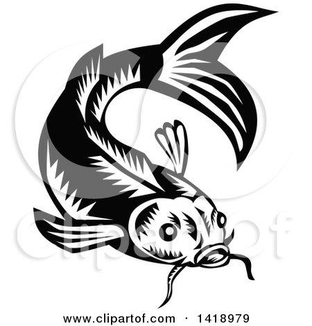 Clipart of a Retro Black and White Woodcut Koi Carp Fish - Royalty Free Vector Illustration by patrimonio