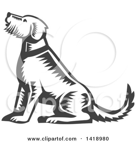 Clipart of a Retro Woodcut Sitting Welsh Terrier Dog - Royalty Free Vector Illustration by patrimonio
