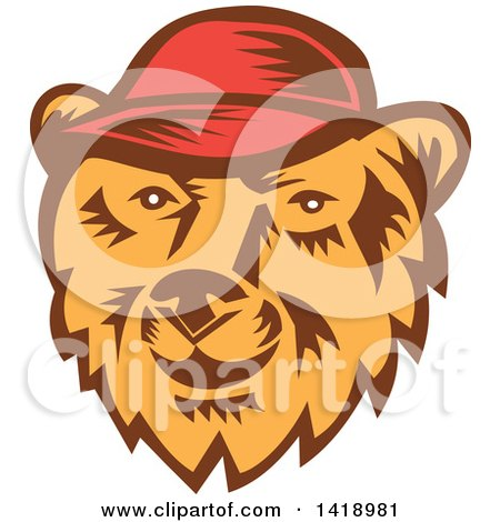 Clipart of a Retro Woodcut Bear Face Wearing a Baseball Cap - Royalty Free Vector Illustration by patrimonio