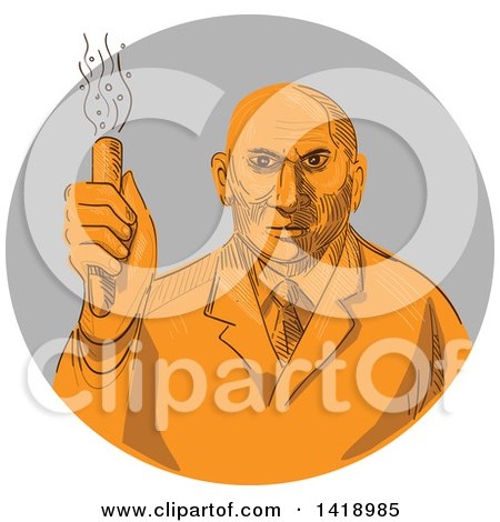 Clipart of a Sketched Orange Mad Male Scientist Holding a Test Tube in a Gray Circle - Royalty Free Vector Illustration by patrimonio