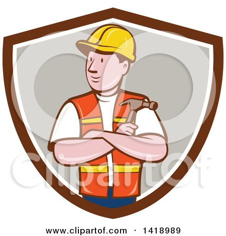 Clipart of a Retro Cartoon Construction Worker Holding a Hammer in Folded Arms in a Shield - Royalty Free Vector Illustration by patrimonio