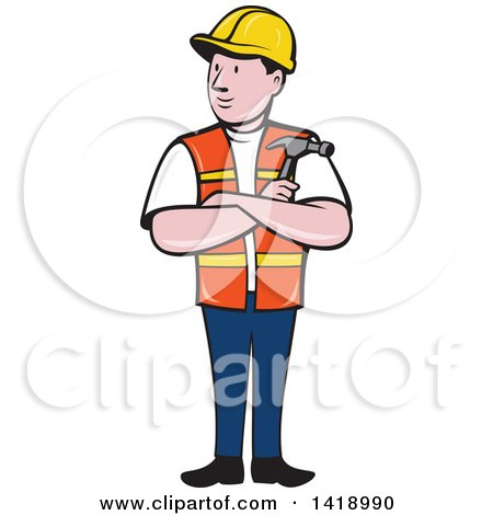 Retro Cartoon Construction Worker Holding a Hammer in Folded Arms Posters, Art Prints