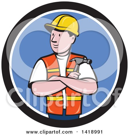 Retro Cartoon Construction Worker Holding a Hammer in Folded Arms in a Black White and Blue Circle Posters, Art Prints