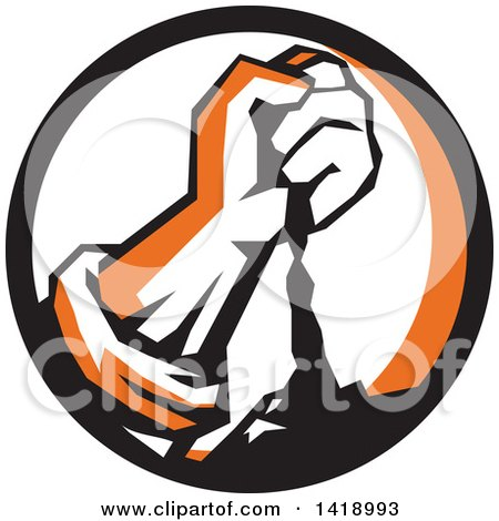 Clipart of a Retro Clenched Fist Pouring Dirt in a Black Orange and White Circle - Royalty Free Vector Illustration by patrimonio
