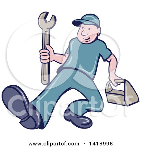 Clipart of a Retro Cartoon White Handy Man or Mechanic Walking with a Spanner Wrench and Tool Box - Royalty Free Vector Illustration by patrimonio