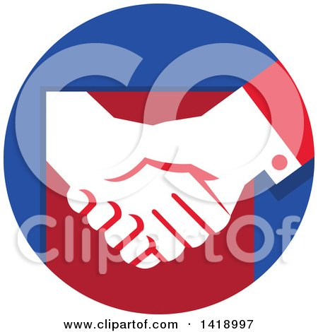 Clipart of a White Hands Shaking in a Red and Blue Circle - Royalty Free Vector Illustration by patrimonio