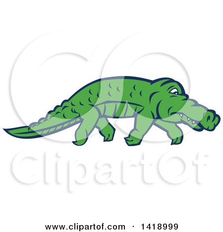 Clipart of a Sneaky Alligator Tip Toeing - Royalty Free Vector Illustration by patrimonio