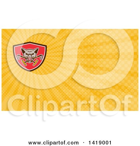 Clipart of a Retro Wild Hog Boar Head Biting Crossed Polo Mallets and Rays Background or Business Card Design - Royalty Free Illustration by patrimonio