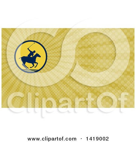 Clipart of a Silhouetted Polo Player on Horseback, Swinging a Mallet and Rays Background or Business Card Design - Royalty Free Illustration by patrimonio