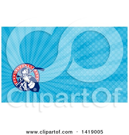 Clipart of a Retro American Revolutionary Patriot Soldier Holding a Hockey Stick and Blue Rays Background or Business Card Design - Royalty Free Illustration by patrimonio