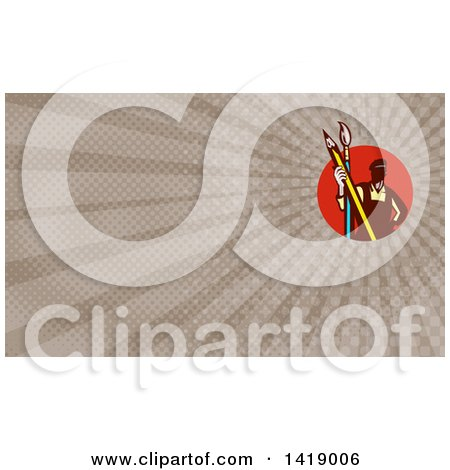 Clipart of a Retro Male Artist Holding a Giant Pencil and Paintbrush and Brown Rays Background or Business Card Design - Royalty Free Illustration by patrimonio