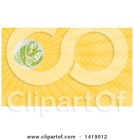Clipart of a Greek Goddess, Demeter, Holding Grains in a Circle and Yellow Rays Background or Business Card Design - Royalty Free Illustration by patrimonio