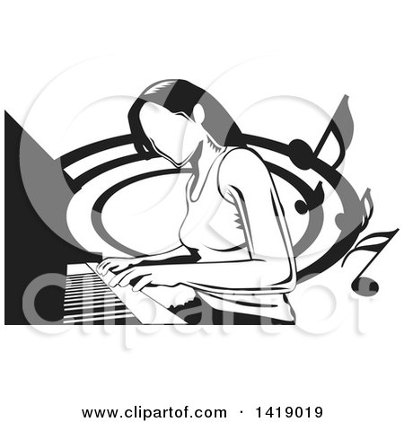 Clipart of a Black and White Woman Playing a Piano - Royalty Free Vector Illustration by David Rey
