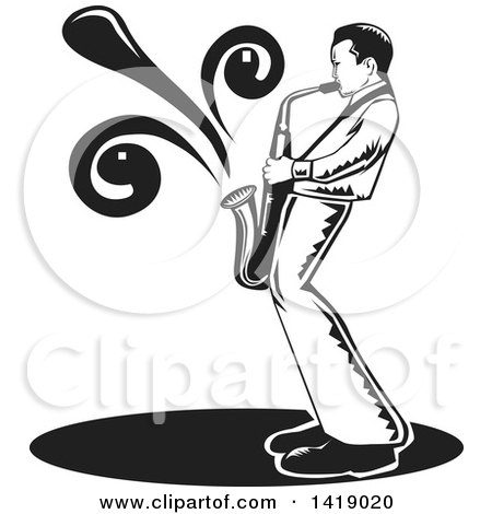 Clipart of a Black and White Male Musician Playing a Saxophone - Royalty Free Vector Illustration by David Rey