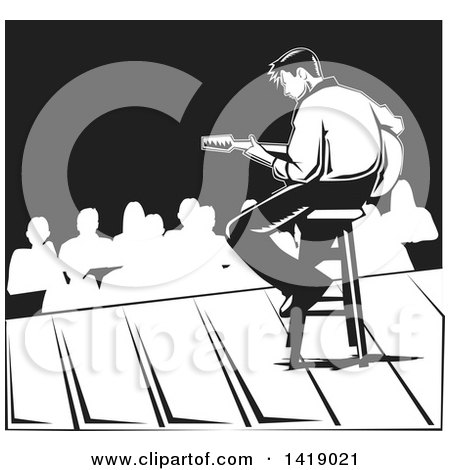 Clipart of a Black and White Male Musician Playing a Guitar on Stage - Royalty Free Vector Illustration by David Rey