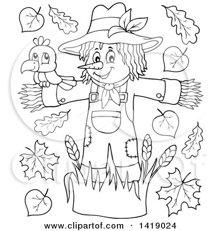 Clipart of a Black and White Lineart Crow Bird on a Scarecrow, with Leaves - Royalty Free Vector Illustration by visekart