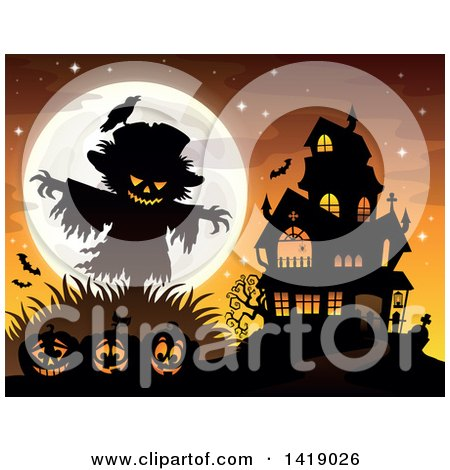 Clipart of a Silhouetted Scarecrow with a Jackolantern Head over Pumpkins near a Haunted House - Royalty Free Vector Illustration by visekart