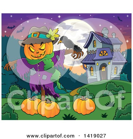Clipart of a Scarecrow with a Jackolantern Head over Pumpkins near a Haunted House - Royalty Free Vector Illustration by visekart