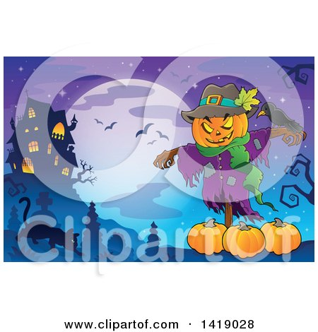Clipart of a Scarecrow with a Jackolantern Head over Pumpkins near a Haunted House, with a Cat in a Cemetery - Royalty Free Vector Illustration by visekart