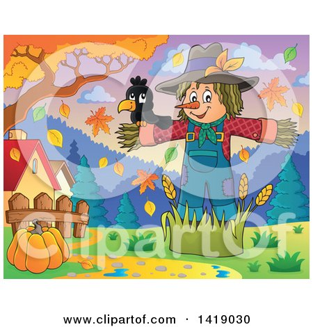 Clipart of a Crow Bird on a Scarecrow Under Autumn Trees in a Yard - Royalty Free Vector Illustration by visekart