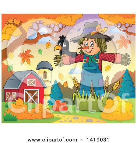 Clipart of a Crow Bird on a Scarecrow in an Autumn Barnyard - Royalty Free Vector Illustration by visekart