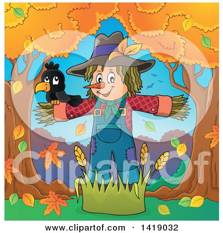 Clipart of a Crow Bird on a Scarecrow Under Autumn Trees - Royalty Free Vector Illustration by visekart
