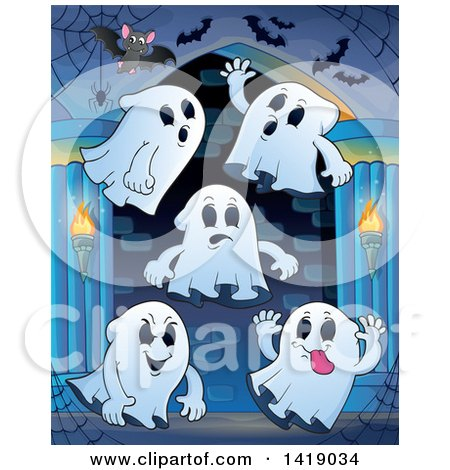 Clipart of a Group of Ghosts in a Hallway - Royalty Free Vector Illustration by visekart
