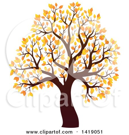 Clipart of a Tree with Autumn Foliage - Royalty Free Vector Illustration by visekart