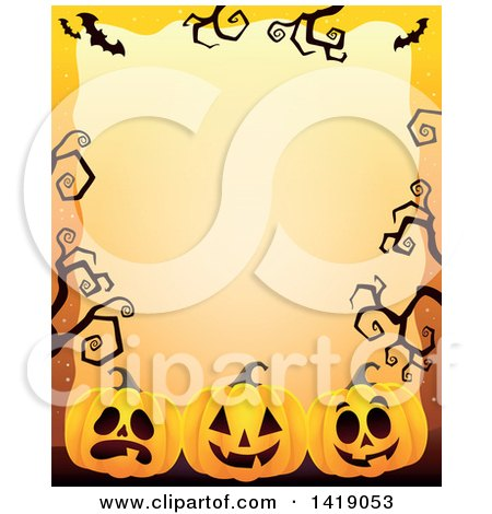 Clipart of a Halloween Border of Jackolantern Pumpkins, Bats and Curly Bare Tree Branches over Orange - Royalty Free Vector Illustration by visekart