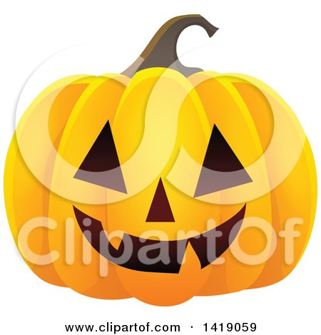 Clipart of a Carved Halloween Jackolantern Pumpkin - Royalty Free Vector Illustration by visekart