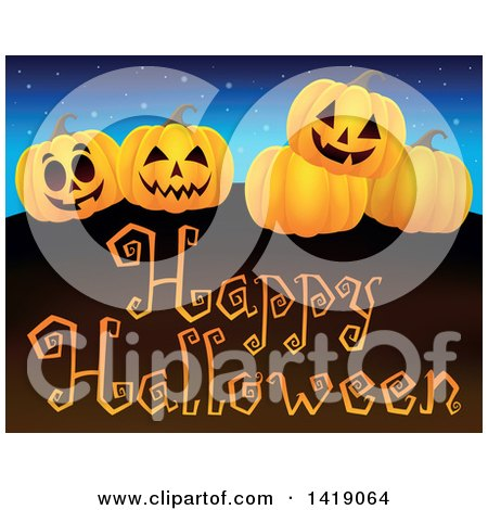 Clipart of a Group of Jackolanterns over a Happy Halloween Greeting - Royalty Free Vector Illustration by visekart