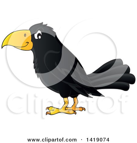 Clipart of a Black Crow Bird in Profile - Royalty Free Vector Illustration by visekart