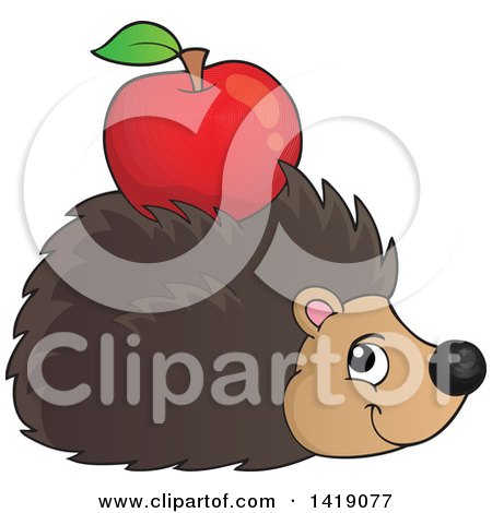 Clipart of a Happy Hedgehog with an Apple on Its Back - Royalty Free Vector Illustration by visekart