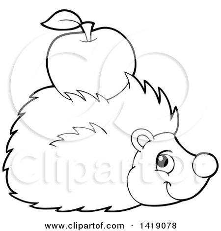 Clipart of a Black and White Lineart Happy Hedgehog with an Apple on Its Back - Royalty Free Vector Illustration by visekart