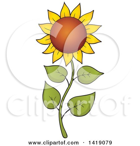 Clipart Of A Sunflower On A Curvy Stalk Royalty Free Vector Illustration