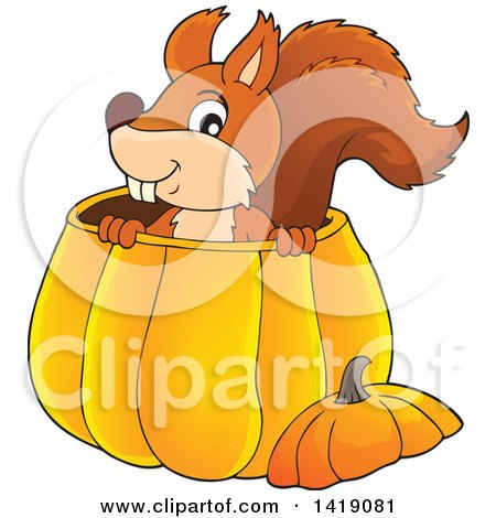 Clipart of a Happy Squirrel in a Pumpkin - Royalty Free Vector Illustration by visekart