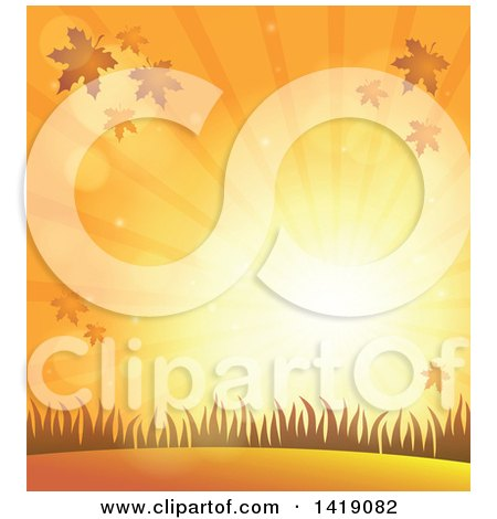 Clipart of a Background of an Orange Autumn Sunset with Falling Leaves and Grass - Royalty Free Vector Illustration by visekart
