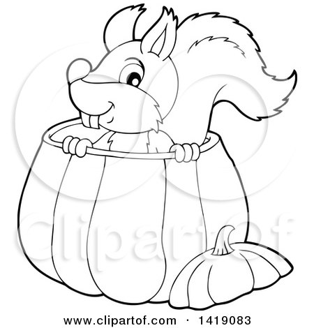 Clipart of a Black and White Lineart Happy Squirrel in a Pumpkin - Royalty Free Vector Illustration by visekart