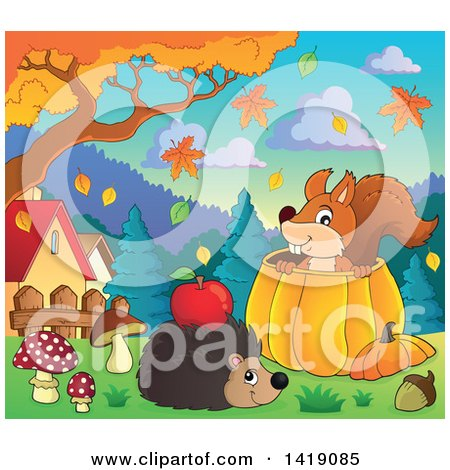 Clipart of a Happy Hedgehog with an Apple on Its Back by a Squirrel in a Pumpkin in an Autumn Yard - Royalty Free Vector Illustration by visekart