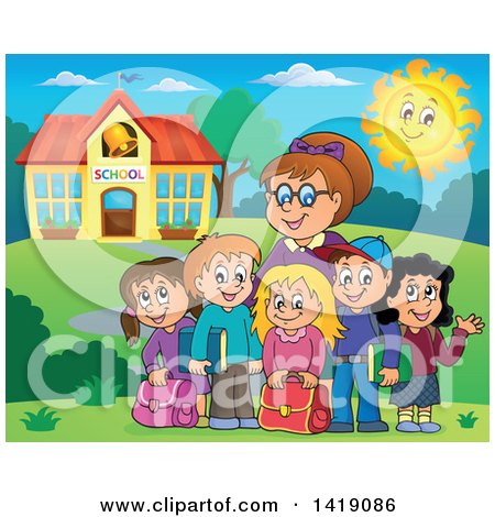 Clipart of a Happy Female Teacher and Students Outside a School Building - Royalty Free Vector Illustration by visekart