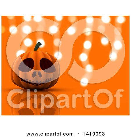 Clipart of a 3d Halloween Jackolantern Pumpkin over Orange with Hanging Lights - Royalty Free Illustration by KJ Pargeter