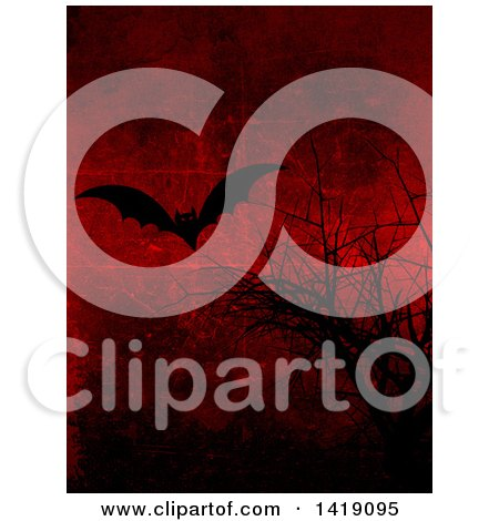 Clipart of a Silhouetted Vampire Bat and Bare Branches on a Grungy Red Halloween Background Texture - Royalty Free Illustration by KJ Pargeter