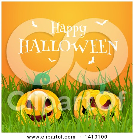 Clipart of a Happy Halloween Greeting with White Bats over Pumpkins and Grass on Orange - Royalty Free Vector Illustration by KJ Pargeter