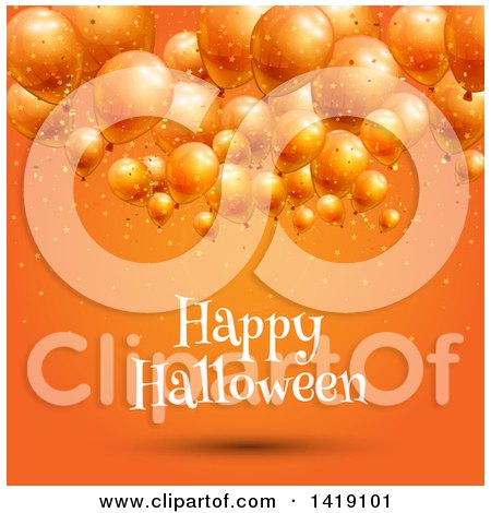 Clipart of a Happy Halloween Greeting Under 3d Party Balloons on Orange - Royalty Free Vector Illustration by KJ Pargeter