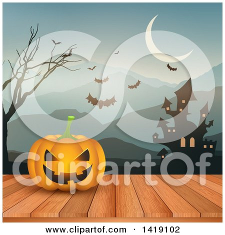Clipart of a Halloween Jackolantern Pumpkin on a Deck Against a Haunted Castle, Mountains and Bats - Royalty Free Vector Illustration by KJ Pargeter