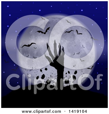 Clipart of a Silhouetted Zombie Hand Rising from the Grave Against a Full Moon with Vampire Bats - Royalty Free Vector Illustration by KJ Pargeter